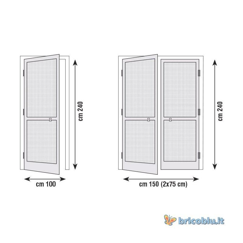 zanzariera porta battente cm 100 x 240 marrone brico blu